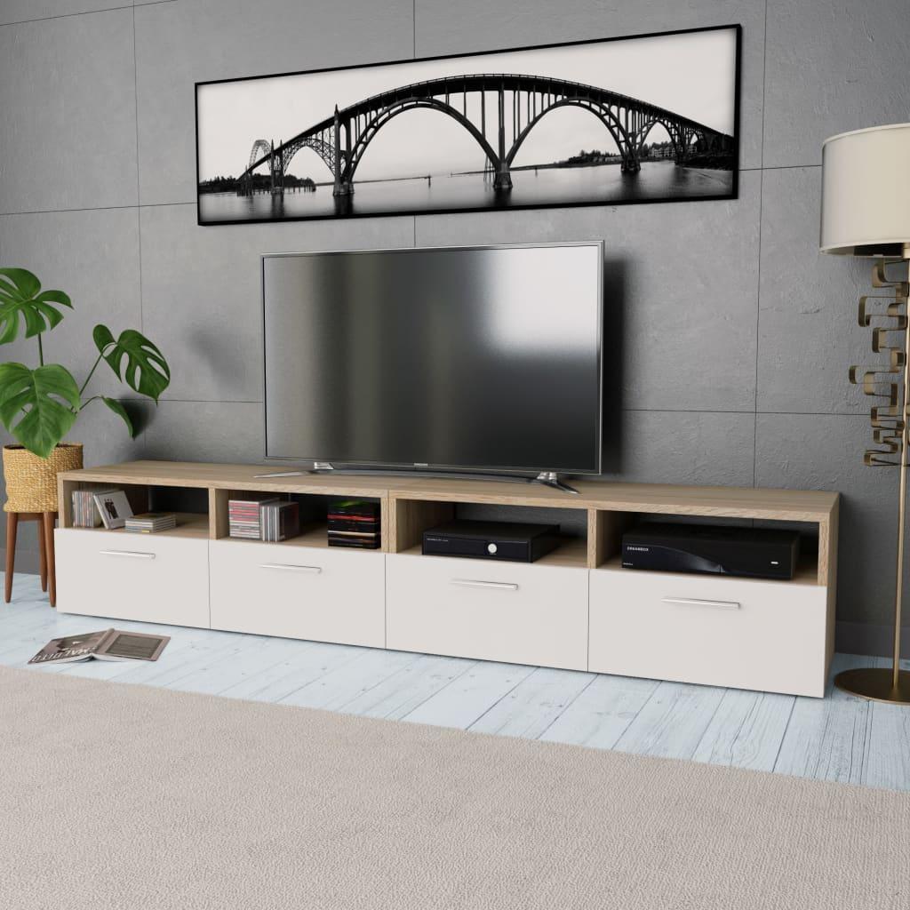 vidaXL Stolek pod TV, 2 ks, dřevotříska, 95 x 35 x 36 cm, dub a bílá