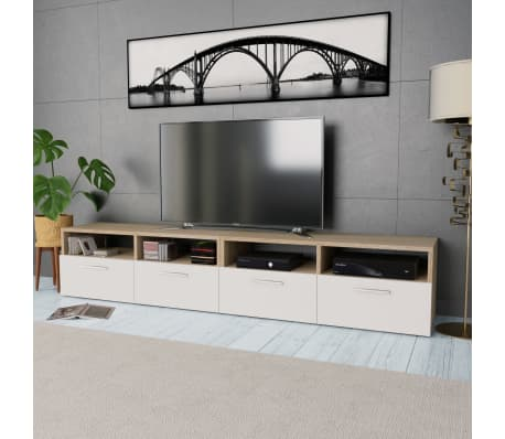 vidaXL Tv-meubels 95x35x36 cm spaanplaat eikenkleurig en wit 2 st[1/6]