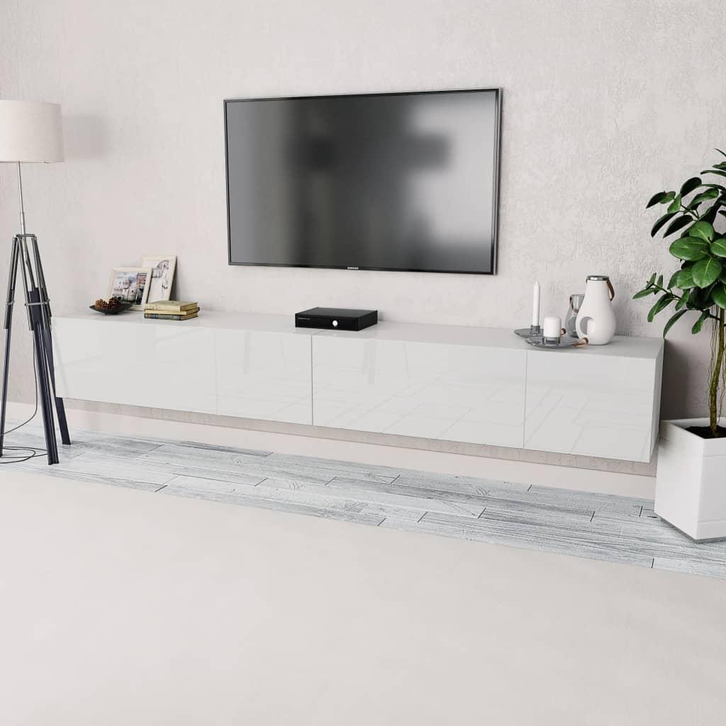 vidaXL Έπιπλα Τηλεόρασης 2 τεμ. Γυαλιστ. Λευκό 120x40x34εκ Μοριοσανίδα