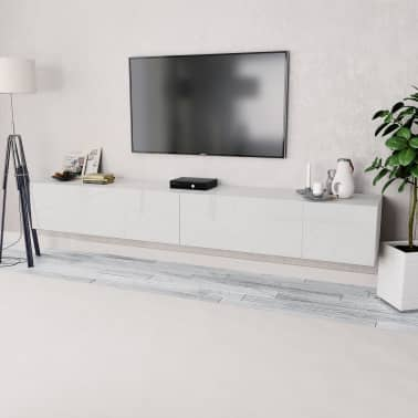 vidaXL TV-Schränke 2 Stk. Spanplatte 120 x 40 x 34 cm Hochglanz Weiß[1/6]