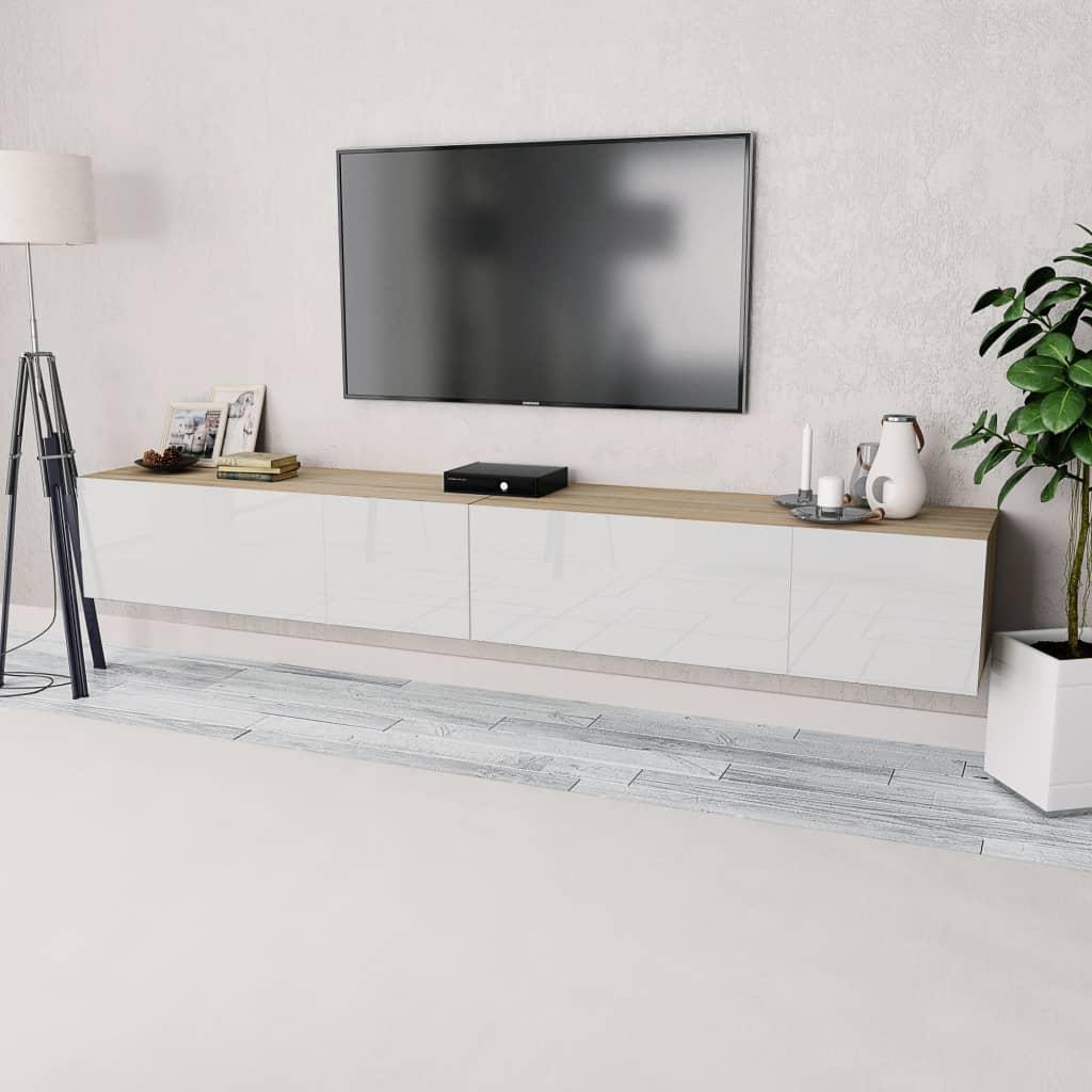 vidaXL Έπιπλα Τηλεόρασης 2 τεμ. Λευκό/Δρυς 120x40x34 εκ. Μοριοσανίδα