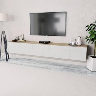 Acheter Vidaxl Meuble Tv 2 Pcs Agglomere 120x40x34 Cm Chene Et Blanc