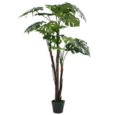 "vidaXL Artificial Monstera Plant with Pot 51.2"" Green[1/2]"