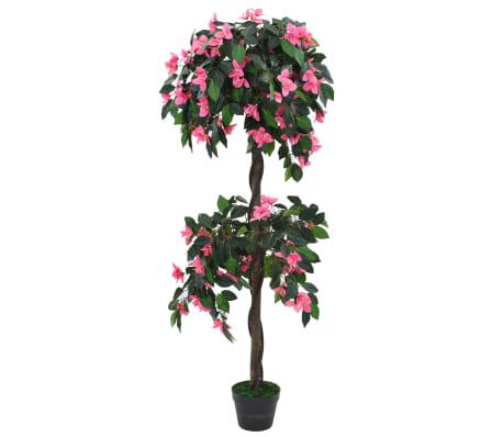 vidaXL Planta rododendro  artificial com vaso 155 cm verde e rosa