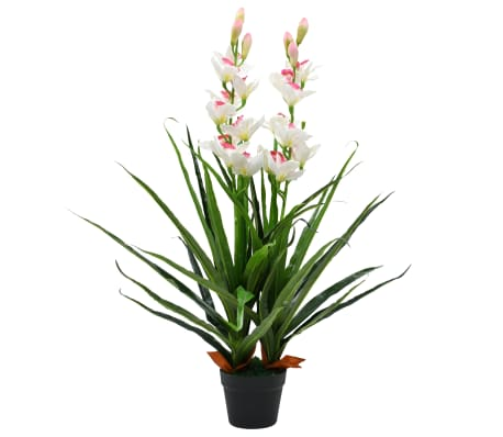 vidaXL Artificial Cymbidium Orchid Plant with Pot 100 cm Green