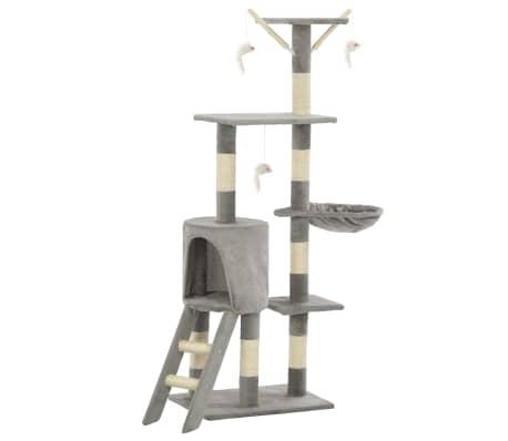 vidaXL Arbre à chat avec griffoirs en sisal 138 cm Gris[2/8]