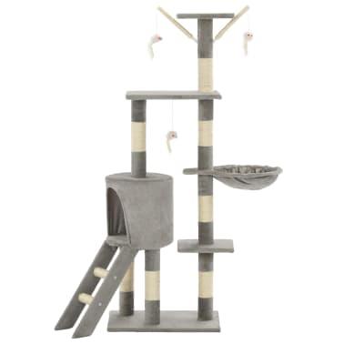vidaXL Arbre à chat avec griffoirs en sisal 138 cm Gris[3/8]