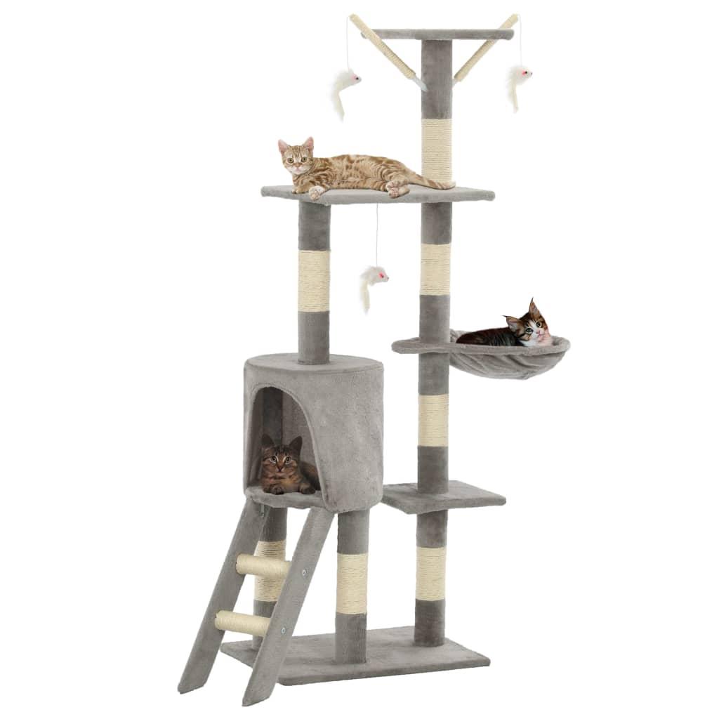vidaXL Škrabadlo pro kočky se sisalovými sloupky 138 cm šedé