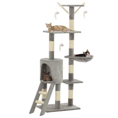 vidaXL Arbre à chat avec griffoirs en sisal 138 cm Gris[1/8]