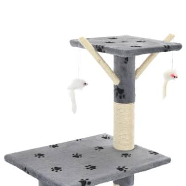 vidaXL Škrabadlo pro kočky sisalové sloupky 138 cm šedé s tlapkami[6/8]