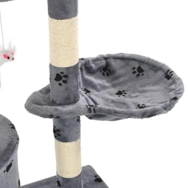 vidaXL Škrabadlo pro kočky sisalové sloupky 138 cm šedé s tlapkami[7/8]