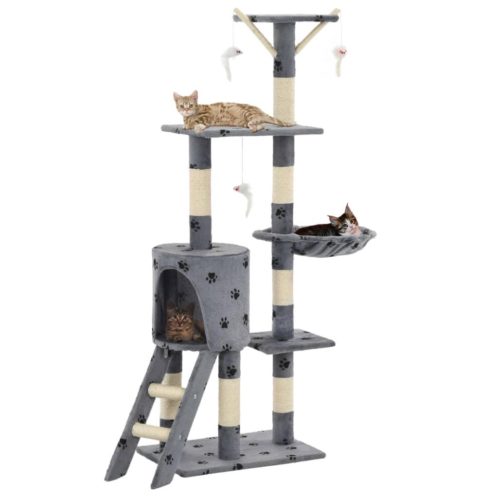 vidaXL Škrabadlo pro kočky sisalové sloupky 138 cm šedé s tlapkami