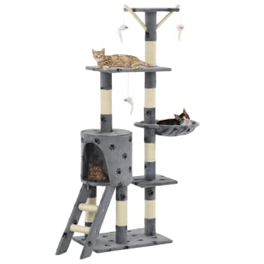 vidaXL Škrabadlo pro kočky sisalové sloupky 138 cm šedé s tlapkami[1/8]
