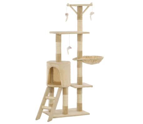 vidaXL Cat Tree with Sisal Scratching Posts 138 cm Beige