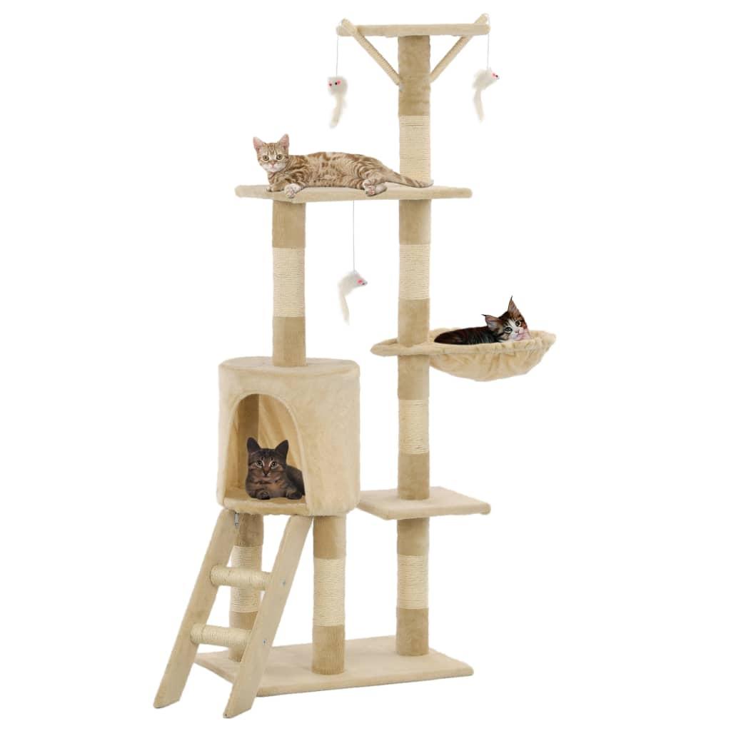 vidaXL Ansamblu pisici cu stâlpi din funie de sisal, 138 cm, bej poza 2021 vidaXL