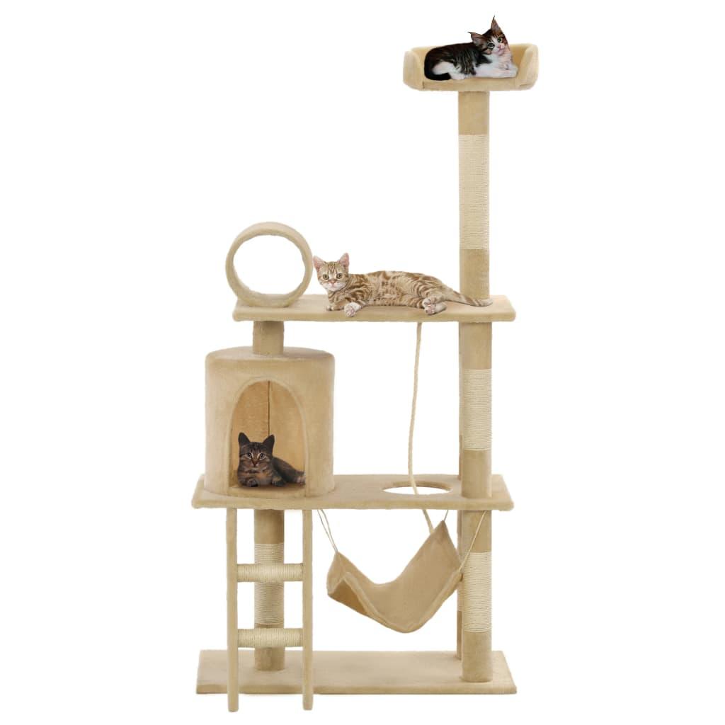 vidaXL Ansamblu de joacă pisici, stâlpi funie din sisal, 140 cm, bej imagine vidaxl.ro