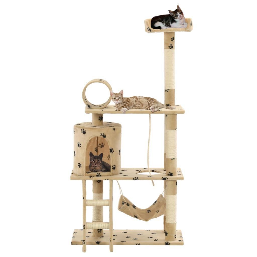 vidaXL Ansamblu pisici, stâlpi funie sisal 140 cm imprimeu lăbuțe, bej poza vidaxl.ro