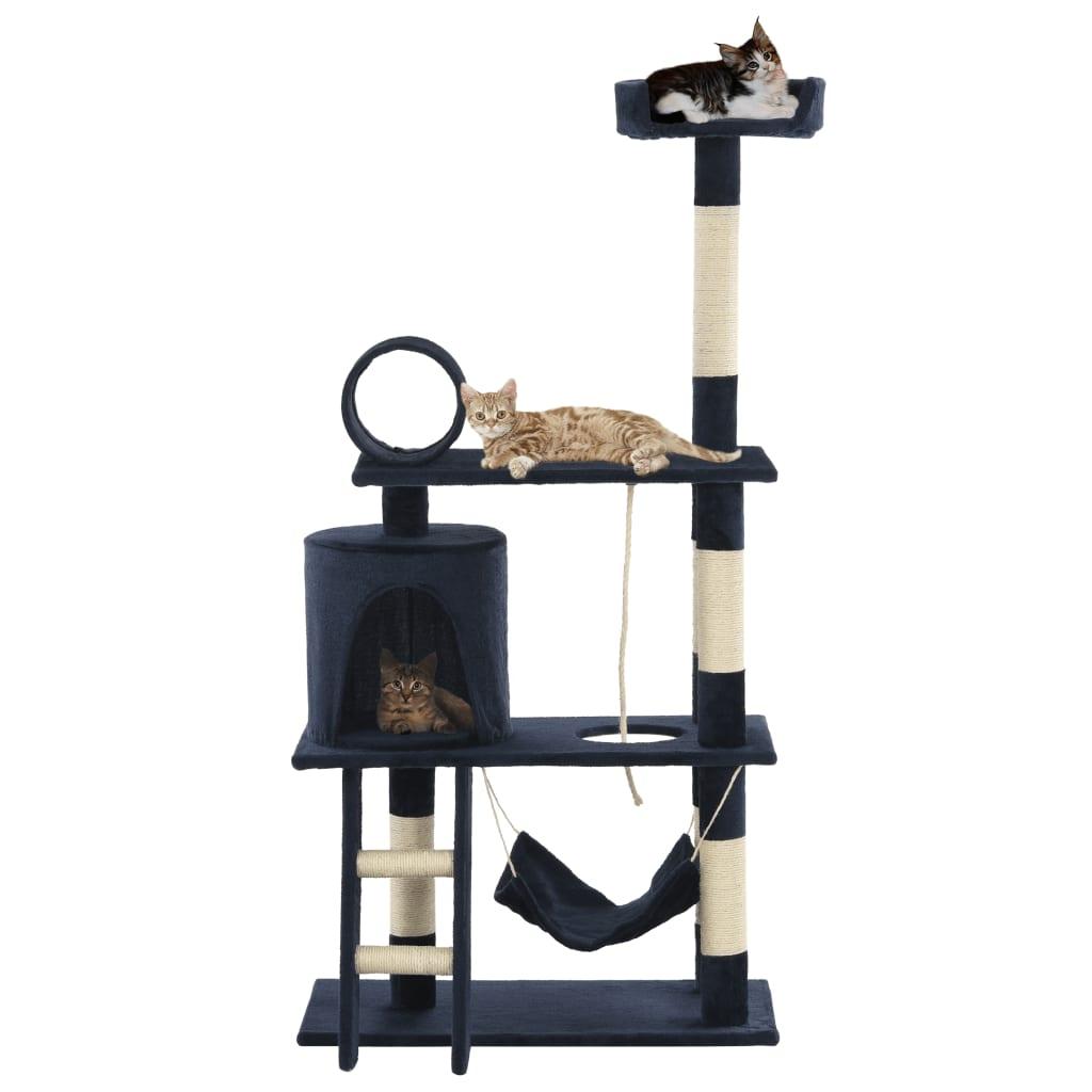 vidaXL Ansamblu de joacă pisici, stâlpi sisal, 140 cm, albastru închis poza 2021 vidaXL