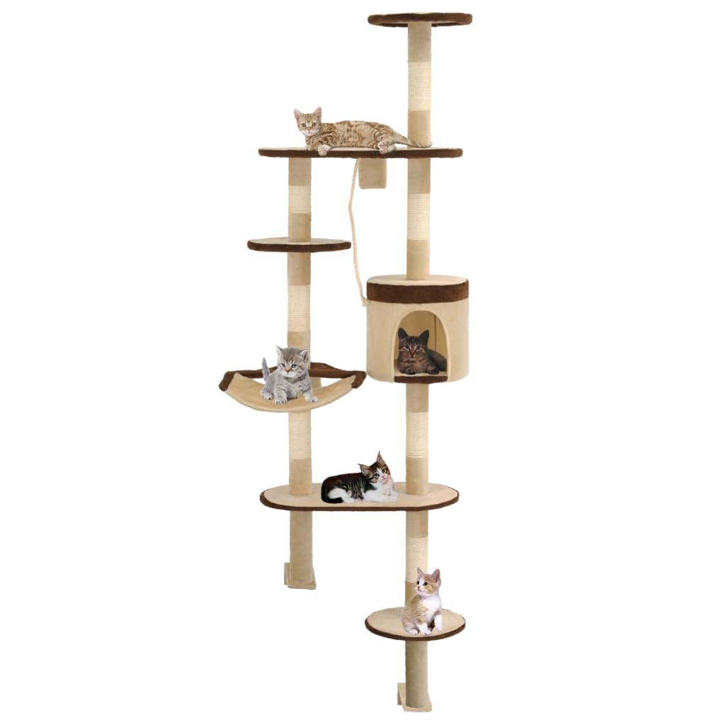 vidaXL Nástěnné škrabadlo pro kočky sisalové sloupky 194cm béžovohnědé