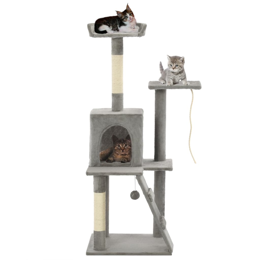 vidaXL Ansamblu pisici, stâlpi cu funie de sisal, 120 cm, gri imagine vidaxl.ro