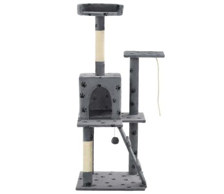 vidaXL Rascador para gatos con poste de sisal 120 cm huellas gris[2/7]