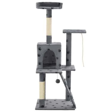 vidaXL Albero per Gatti e Tiragraffi Sisal 120cm Zampe Stampate Grigio[2/7]