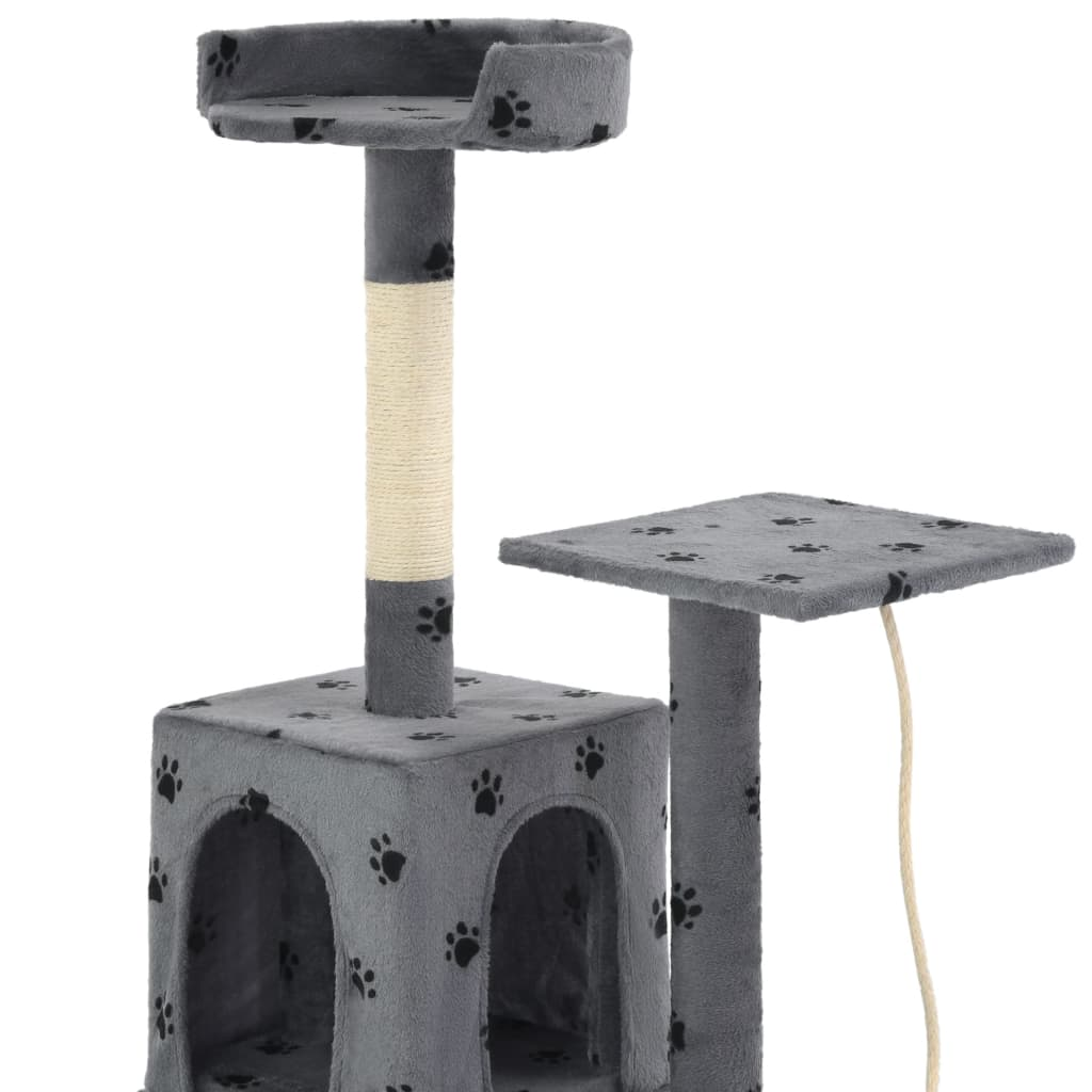 vidaXL Škrabadlo pro kočky sisalové sloupky 120 cm šedé s tlapkami