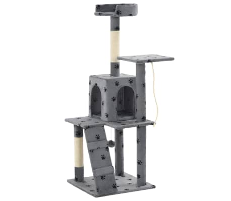 vidaXL Rascador para gatos con poste de sisal 120 cm huellas gris[3/7]