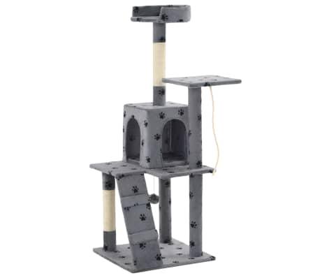 vidaXL Albero per Gatti e Tiragraffi Sisal 120cm Zampe Stampate Grigio[3/7]