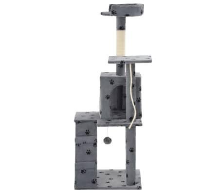 vidaXL Rascador para gatos con poste de sisal 120 cm huellas gris[4/7]