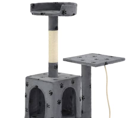 vidaXL Albero per Gatti e Tiragraffi Sisal 120cm Zampe Stampate Grigio[5/7]