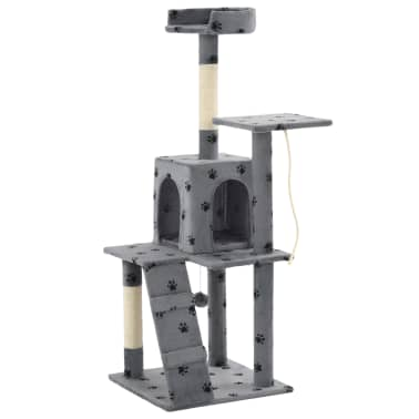 vidaXL Kattenkrabpaal met sisalpalen 120 cm pootafdrukken grijs[3/7]