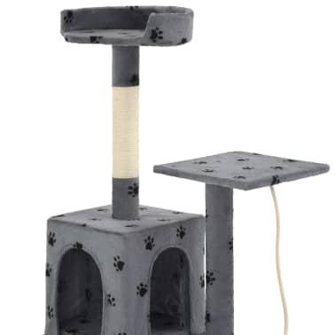 vidaXL Rascador para gatos con poste de sisal 120 cm huellas gris[5/7]