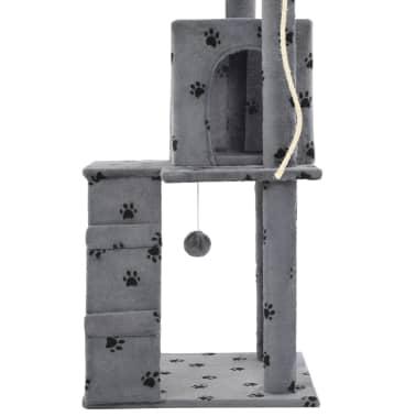 vidaXL Albero per Gatti e Tiragraffi Sisal 120cm Zampe Stampate Grigio[6/7]