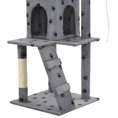 vidaXL Rascador para gatos con poste de sisal 120 cm huellas gris[7/7]