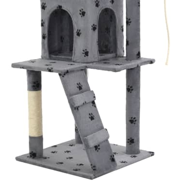 vidaXL Albero per Gatti e Tiragraffi Sisal 120cm Zampe Stampate Grigio[7/7]