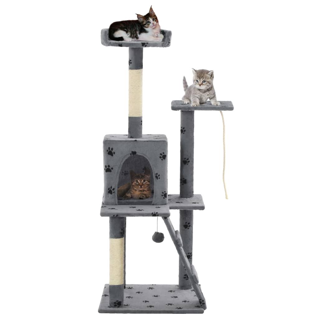 vidaXL Ansamblu pisici, stâlpi funie sisal 120 cm, gri imprimeu lăbuțe poza vidaxl.ro