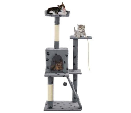 vidaXL Rascador para gatos con poste de sisal 120 cm huellas gris[1/7]