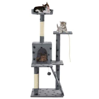 vidaXL Kattenkrabpaal met sisalpalen 120 cm pootafdrukken grijs[1/7]