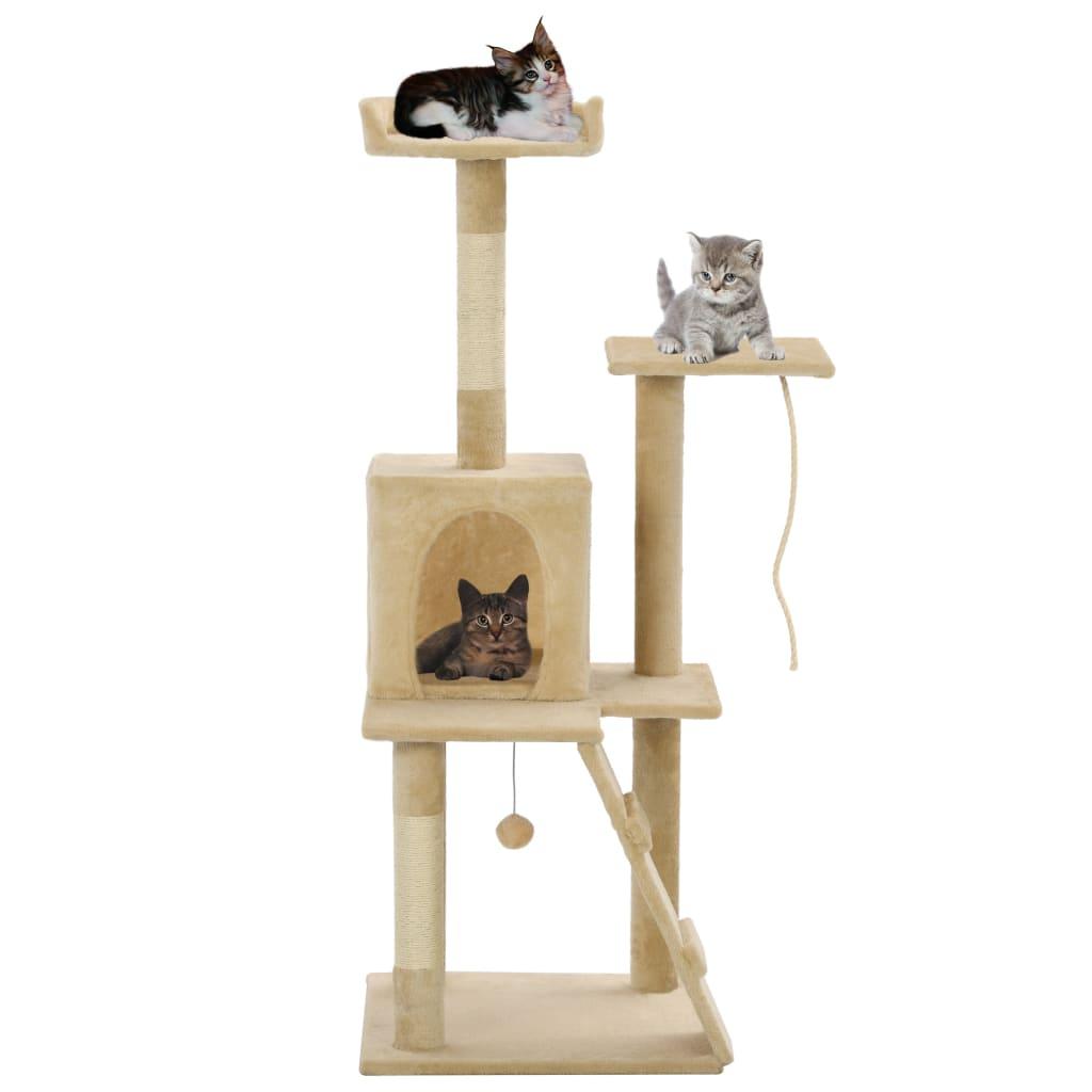 Škrabadlo pro kočky se sisalovými sloupky 120 cm béžové