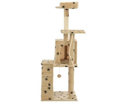 vidaXL Cat Tree with Sisal Scratching Posts 120 cm Beige Paw Prints[3/7]