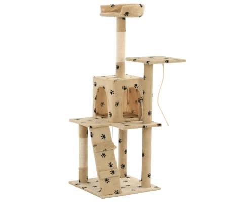 vidaXL Cat Tree with Sisal Scratching Posts 120 cm Beige Paw Prints[4/7]
