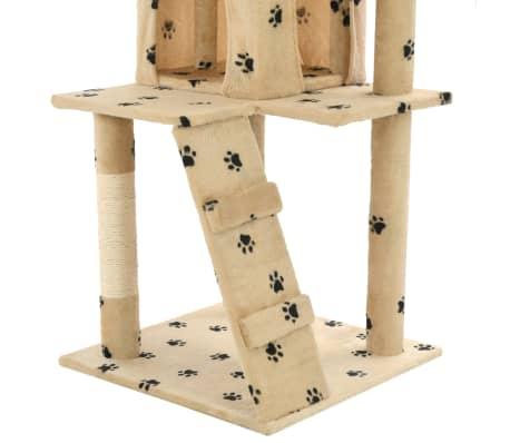 vidaXL Cat Tree with Sisal Scratching Posts 120 cm Beige Paw Prints[7/7]