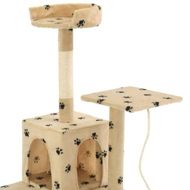 vidaXL Cat Tree with Sisal Scratching Posts 120 cm Beige Paw Prints[5/7]