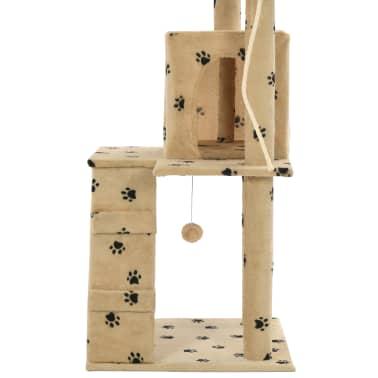 vidaXL Cat Tree with Sisal Scratching Posts 120 cm Beige Paw Prints[6/7]