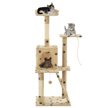 vidaXL Cat Tree with Sisal Scratching Posts 120 cm Beige Paw Prints[1/7]