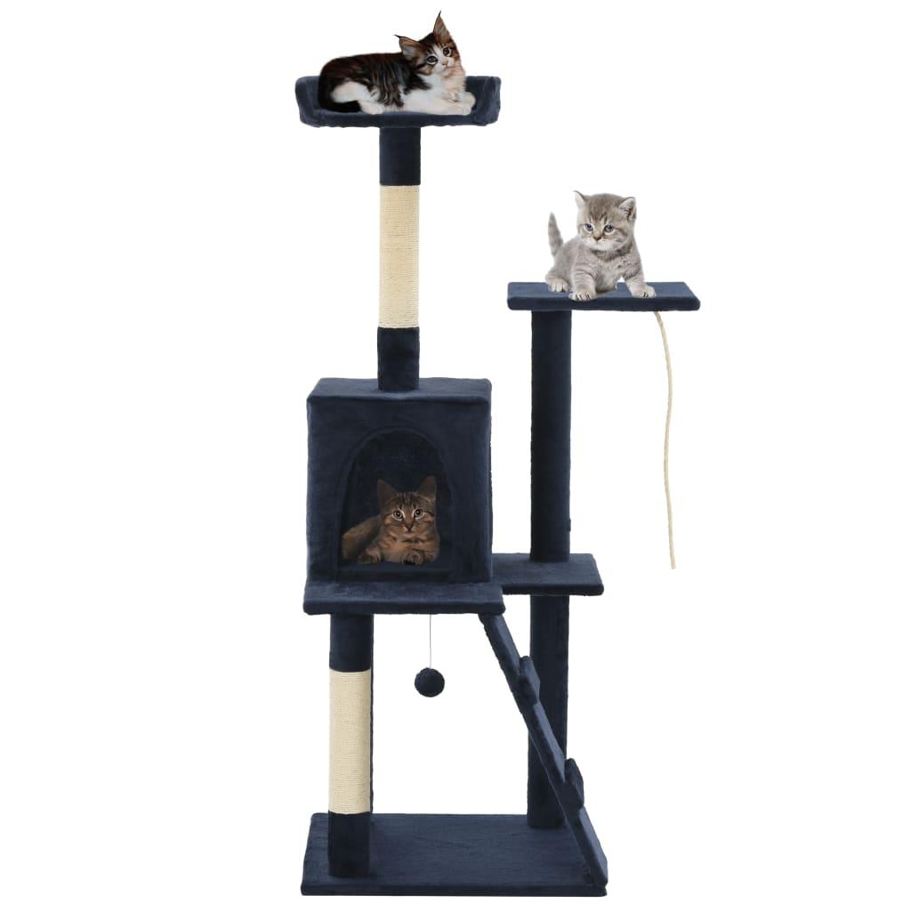 vidaXL Ansamblu pisici, stâlpi funie sisal, 120 cm, bleumarin poza 2021 vidaXL