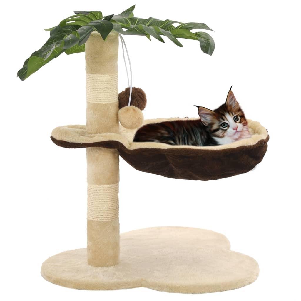 Škrabadlo pro kočky se sisalovými sloupky 50 cm béžovo-hnědé