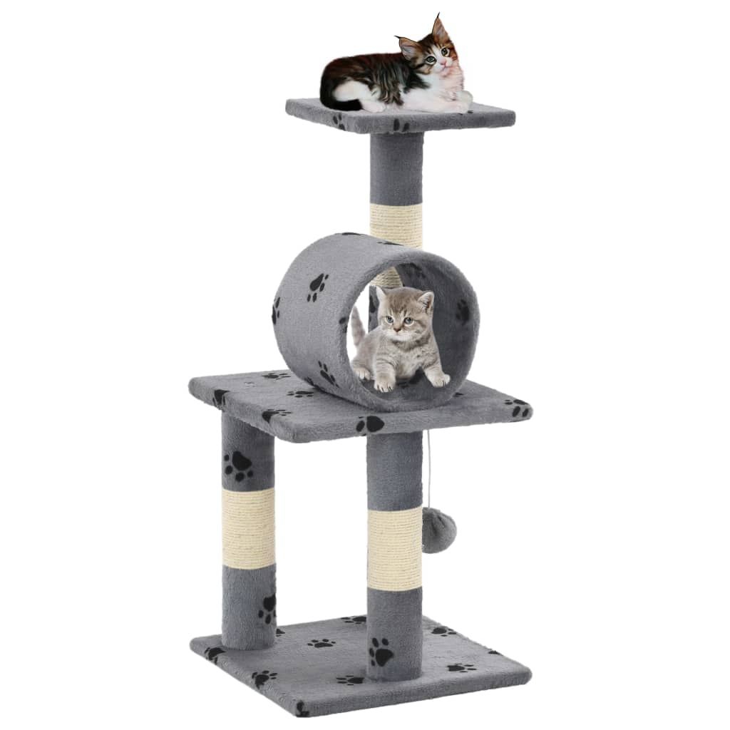 vidaXL Škrabadlo pro kočky se sisalovými sloupky 65 cm šedé s tlapkami
