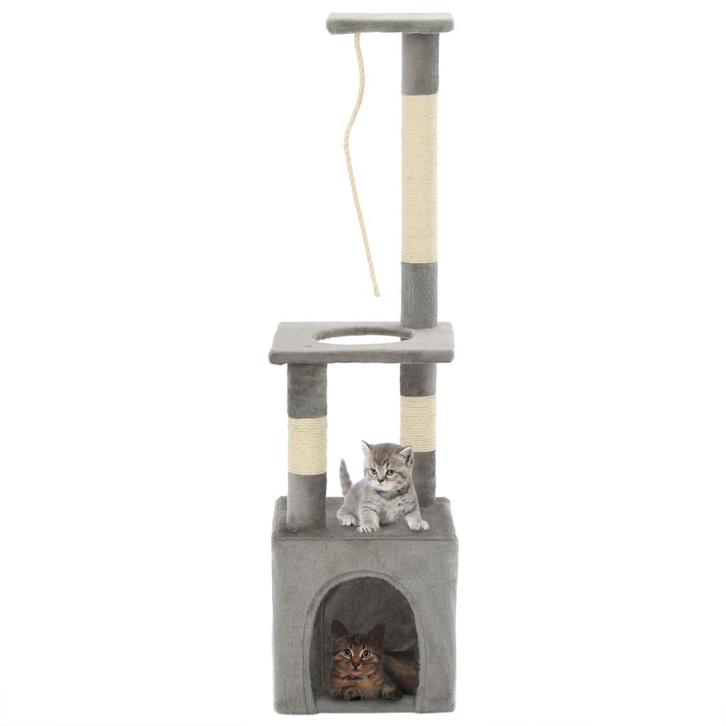 vidaXL Škrabadlo pro kočky se sisalovými sloupky 109 cm šedé